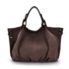 Women's Leisure Style Oversize Canvas Tote Handbags (Cameo Brown)