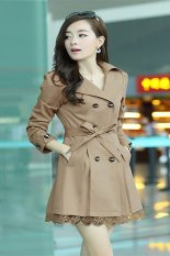 Women's Long Sleeve Slim Fit Trench Double Breasted Coat Lace Jacket Outwear Jacket-khaki-XL (EXPORT)