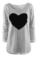 Women's Love Heart Printed T-shirt (Grey)