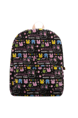 Women's Lovely Cartoon Rabbits Canvas Packsack School Bag (Black)