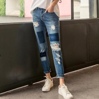 Women's Mid-waisted Straight Ankle Length Pencil Pants Korean Jeans With Hole - intl