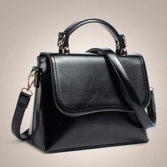 Womens New Fashion Solid Zipper Leather Crossbody Single Shoulder Bag Handbag (Black) - Intl