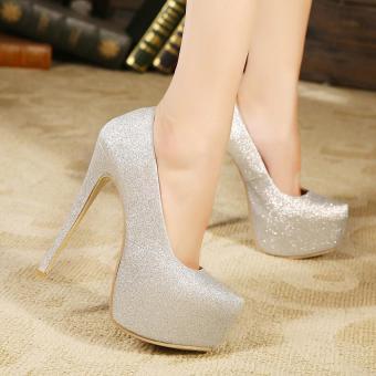 Women's Platform Evening High Heels Club Plus-size Shoes Sliver - intl