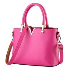 Women's PU Candy Color V Shape Handbag Shoulder Bag with Shoulder Strap (Rose Red)