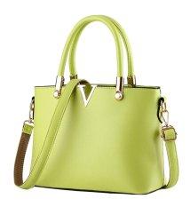 Women's PU Candy Color V Shape Handbag Shoulder Bag with Shoulder Strap (Yellow)