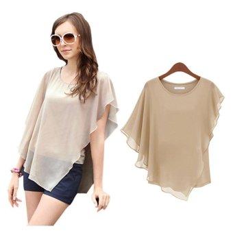 Women's Short-sleeved T-shirt Flounced Chiffon Blouse Tops Bat Shirt (Brown)