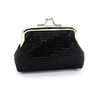 Womens Small Sequin Wallet Card Holder Coin Purse Clutch Handbag Bag - Black - intl