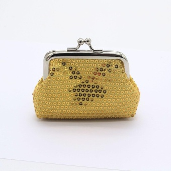 Womens Small Sequin Wallet Card Holder Coin Purse Clutch Handbag Bag - Gold - intl