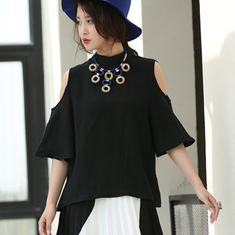 Women's Stand Collar Hollow Shoulder Linen Short Sleeve Shirt (Black) - Intl - Intl