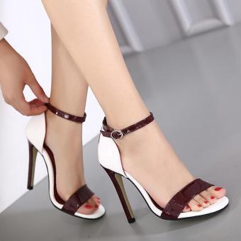 Women's Stiletto Ankle Strap Heels Sexy Sandals Red - intl