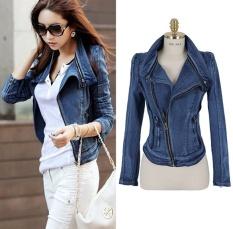 Women's Stylish Punk Lapel Zipper Denim Jean Coat Jacket Slim Outerwear Hot Sale