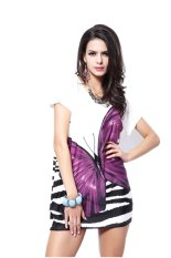 Women's Summer Fashion Casual Slim Show Thin Butterfly Print Top Purple