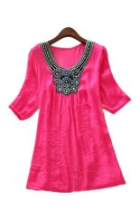 Women's Summer Fashion Vintage Embroidered Plus Size Top Dress Rose