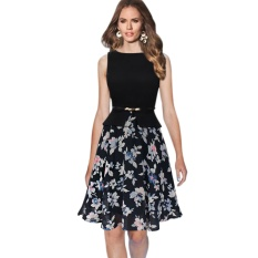 Womens Summer Vintage Elegant Belted Polka Dot Chiffon Patchwork Tunic Work Office Party Fit and Flare A-Line Dress-black& white floral - intl