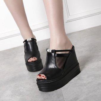 Women's Wedge Shoes Japanese Slippers Black - intl