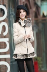 Womens Winter Padded Jacket Was Thin Cloak Lotus Leaf Collar Cotton Coat Jacket-beige-M (EXPORT)