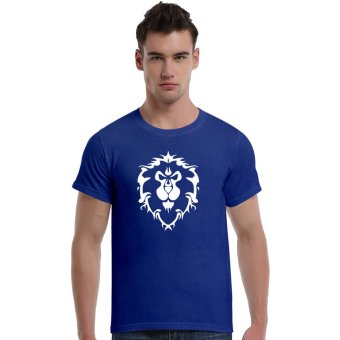 World Of Warcraft Lion Cotton Soft Men Short T-Shirt (Blue)