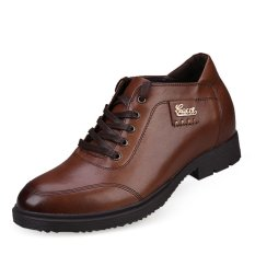 X991.2.76 Inches Taller Men's Height Increase Elevator Calf Leather Mens Formal Shoes (Brown)