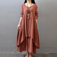 Yazilind Boho Hippie Women Long Sleeve Cotton Linen Casual Long Maxi Dress Amy red - intl