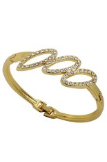 Yazilind Jewelry Gold Plated Cute Three Hollow Oval Carve Crystal Charming Bangle Bracelet Women