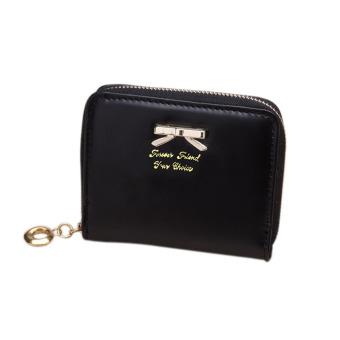 YBC Fashion wanita tas cantik dompet pendek kulit PU kopling hitam - International