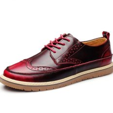 YINGLUNQISHI Men's Casual Leather Shoes British Style Vogue Breathable Leather Shoes (Red)
