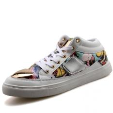 YINGLUNQISHI Men's Fashion Casual Metal Board Shoes Leather Sneakers J37 (White) (Intl)