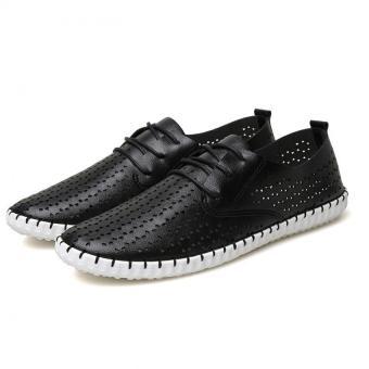 YINGLUNQISHI Men's Fashion Flat Casual Leather Low Cut Formal Lace-Up Shoes (Black) JC229