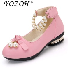 YOZOH Fashion Girl's Lovely Princess Style Leather Shoes Girl High Heel Shoes Dance Dress Girl Sandals-Pink - intl