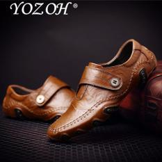 YOZOH Spring Pria Kulit Buatan Tangan Baru Loafers, Sepatu Kasual Pria-Brown - intl