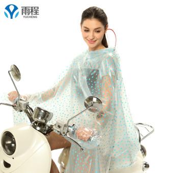Yucheng transparan Dewasa perempuan penuh besar ponco jas hujan (Tanpa lengan Ukuran Plus penuh topi