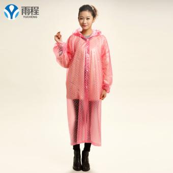 Yucheng transparan luar ruangan diperpanjang Ukuran Plus jas hujan jas hujan (Merah muda)