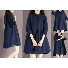 Yuki Fashion Dress Givani - Biru Navy