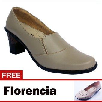 Yutaka Sepatu Kerja Vrant Trand - Krem + Free Florencia Sepatu Casual - Krem