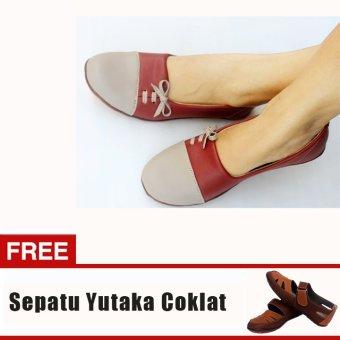 Yutaka Sepatu Wanita N33 Merah + Gratis Sepatu Sp30 Tan