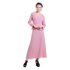 Zada Gamis Maxi Dress Peplum Dan Ruffle - Pink Salem