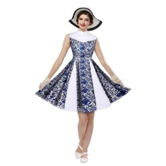 Zaful Vintage Style Woman Dress Summer And Autumn Blue And White Patterns Design Stand Collar Sleeveless Fit&Flare Dress - intl