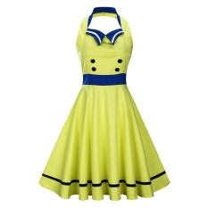 Zaful Woman Vintage Dress Spring And Summer Color-Block Elegant Style Sailor Collar Halter Neck And Sleeveless Design Retro Fit&Flare Sailor Dress - intl
