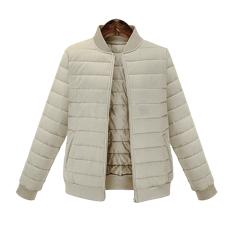 Zaful Women Cotton BF Mujer Micro-Elastic Short Coat (Khaki) - intl