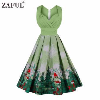 Zaful Women Fashion Vintage Printing Sleeveless Dress Retro Style Defined Waist Elegant - intl