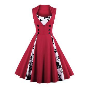 Zaful Women Vintage Sleeveless A-Line Dress Button Floral Print Elegant (Red) -