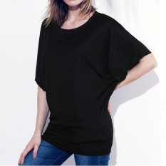 ZANZEA Fashion Womens Batwing Short Sleeve Casual T-shirt Tunic Tops Blouse Loose Tee Light Black (Intl)