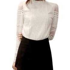 ZANZEA Lace Crochet Puff Sleeve Women Flounce Collar Hollow Cotton Blouse