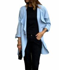 ZANZEA Loose Long Casual Outerwear Cardigan Womens Fold Sleeve Jacket (Intl)
