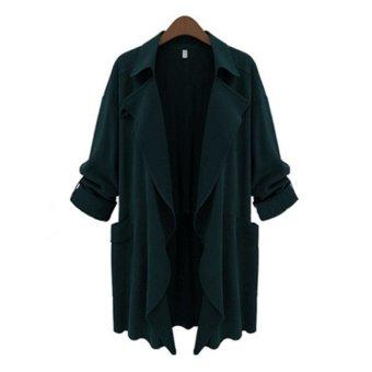 41c7cdb1160d ZANZEA PLUS SIZE Womens Lapel Slim Long Chiffon Parka Cardigan Jacket  Trench Coat New Dark Green