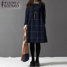 ZANZEA Vintage Wanita Checked The Kotak-Kotak Lengan Baju Gaun Mini Panjang Angkatan Laut