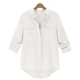 Zanzea Wanita Blus Kemeja Kasual Lengan Baju Panjang Yang Longgar (Putih)