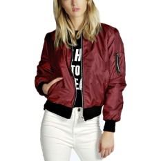 ZANZEA Womens Classic Padded Bomber Jacket Ladies Vintage Zip Up Biker Coat (Intl)