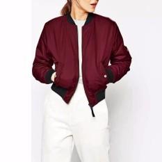 ZANZEA Women 2016 Autumn Winter Women Thin Basic Jacket Long Sleeve Stand Collor Celeb Bomber Coats Zipper Outwear Plus Size Wine Red - Intl