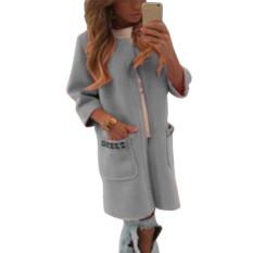 ZANZEA Women Casual Long Pocket Coat Jacket Parka Loose Cardigan Outwear Grey Korean (Intl)